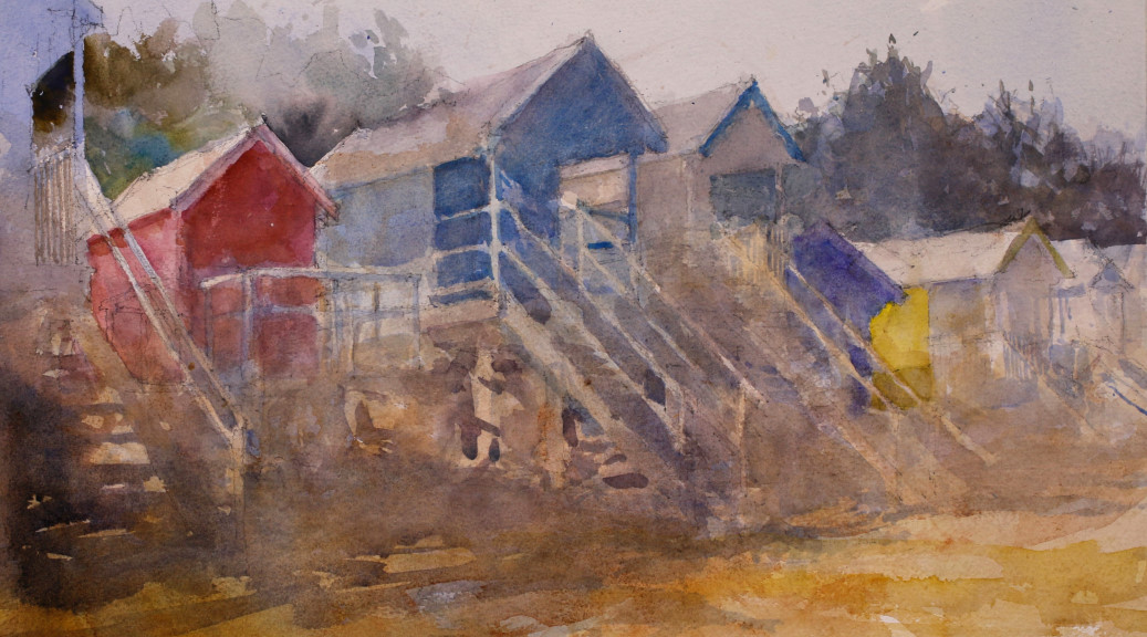 Richard Bond, 'Red, Blue and Yellow' watercolour at Paint Out Wells 2015 Photo by Mark Ivan Benfield