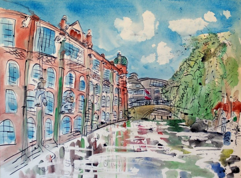 Artist Eloise O'Hare, River Canoe Art School, Mixed Media,70x50cm, £490, Paint Out Norwich 2016. Photo by Katy Jon Went
