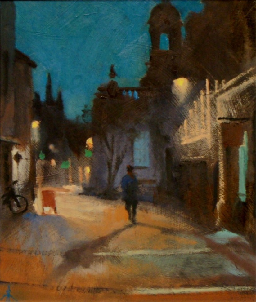 Artist Michael Richardson 'Night Time in the Lanes', London Street, £550 Oil, 20x10in, Paint Out Norwich 2016 - Nocturne Second Prize. Photo by Katy Jon Went