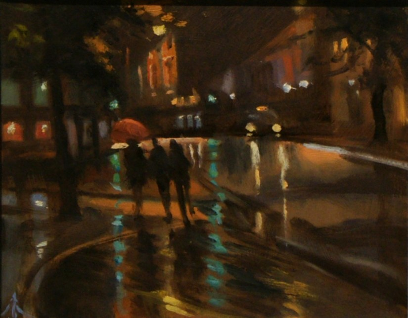 Artist Michael Richardson, 'Night Lights in Tombland', Norwich, £550. Oil, 10x12in, Paint Out Norwich 2016. Photo by Katy Jon Went