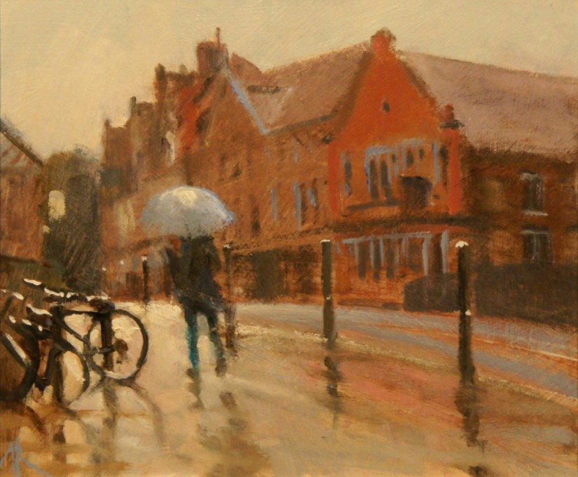 Artist Michael Richardson, 'The Bridge in the Rain', Fye Bridge Street, £550. Oil, 10 x 12, Paint Out Norwich 2016. Photo by Katy Jon Went