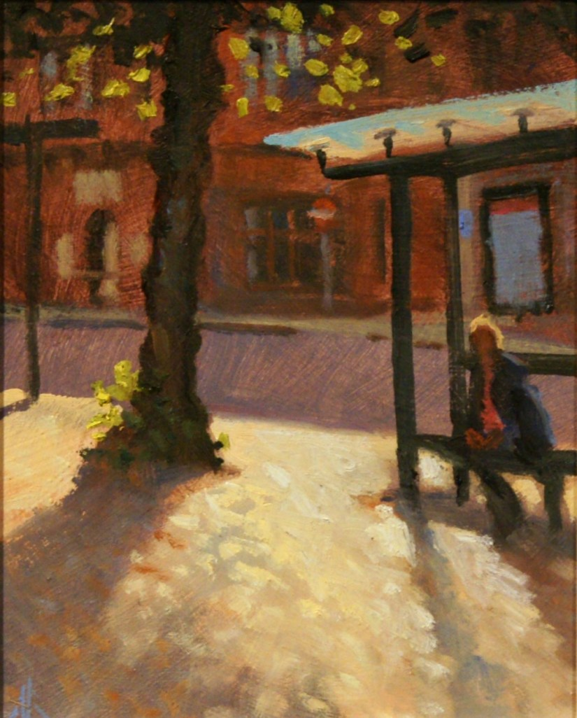 Artist Michael Richardson, 'At The Bus Stop', Tombland, £450. Oil, 10x8 in, Paint Out Norwich 2016. Photo by Katy Jon Went
