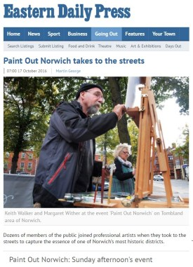 Paint Out Norwich takes to the streets, EDP, 17 Oct 2016