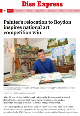 Robert Nelmes, Painter's relocation to Roydon inspires national art competition win, Diss Express, 2 Dec 2016
