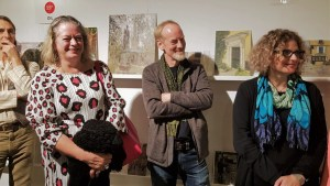 Paint Out Norwich 2018 judges, Sarah Flynn, Tony Robinson, Giorgia Bottinell