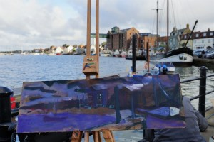 Artist Jack Godfrey's first prize painting in progress at Wells-next-the-Sea, Norfolk Paint Out Wells 2017. Photo by Katy Jon Went