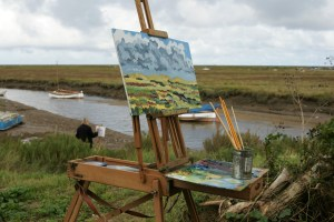 Artist Mary Blue Brady's painting at Blakeney, Paint Out Wells 2017. Photo by Katy Jon Went