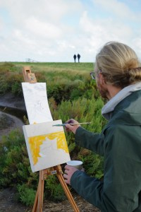 Artist Jack Godfrey painting at Blakeney, Norfolk Paint Out Wells 2017. Photo by Katy Jon Went