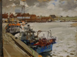 Artist Robert Nelmes, 'Fishing Boats', Wells, Norfolk, Oil, 30x40cm, £350 SOLD. Paint Out Wells 2017 Commendation