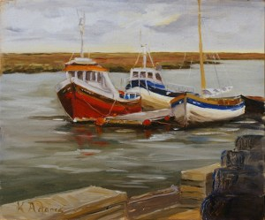 Artist Karen Adams, 'Red Bottomed Boat', Wells, Norfolk, Oil on board, 12x10in, £180. Paint Out Wells 2017