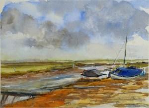 Artist Pat Tinsley, 'Stormy Skies', Blakeney, Watercolour on board, 11x15in, £140