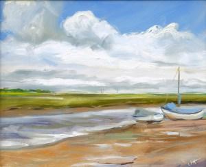 Artist Jerome Hunt, 'Blakeney Clouds', Blakeney, Oil, 12x10in, £165. Paint Out Wells 2017