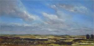 Artist Wendy Kimberley, 'Blakeney Mud Flats', Blakeney, Oil on acrylic, 30x60cm, £175. Paint Out Wells 2017