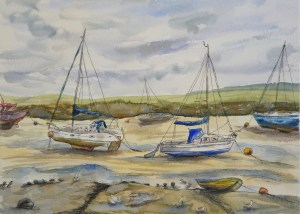 Artist Aggie Matyjaszek, 'Floating Boats', Wells-next-the-Sea, Watercolour & Ink, 13x8in, £140. Paint Out Wells 2018