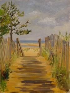 Artist Karen Adams, 'Over the Top', Wells-next-the-Sea, Oil, 16x12in, £200. Paint Out Wells 2018