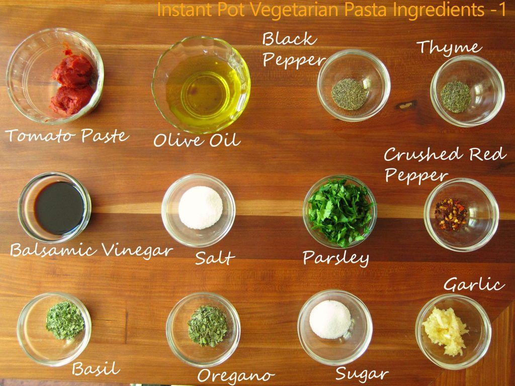 Instant Pot Vegetarian Pasta Ingredients 1 - Paint the Kitchen Red