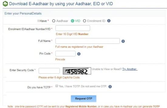download eaadhar by virtual id method