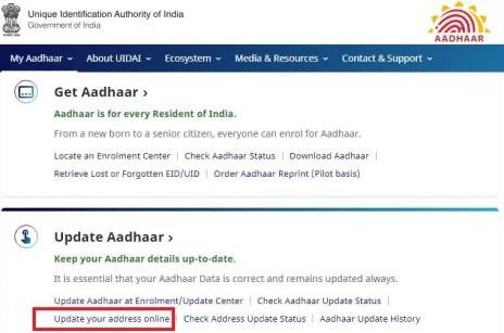 update address in Aadhaar card