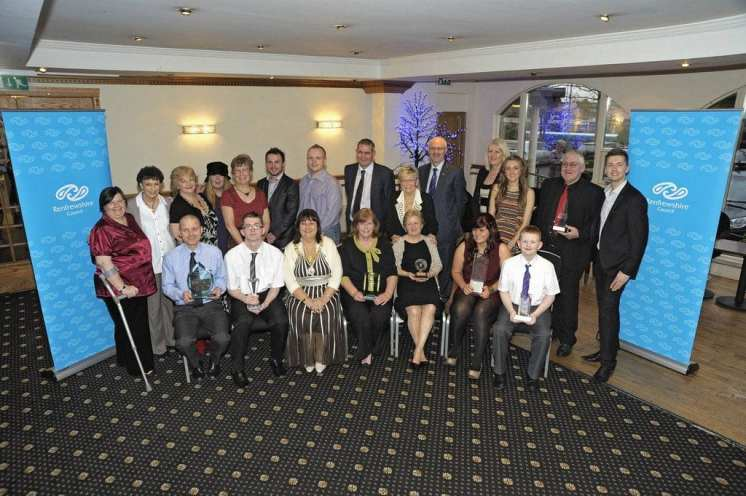 Provost Celia Lawson and Sean Batty with all winners and sponsors
