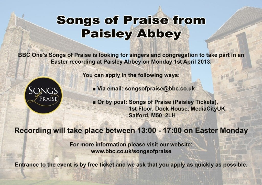 Songs of Praise recording at Paisley Abbey - Renfrewshire Scotland