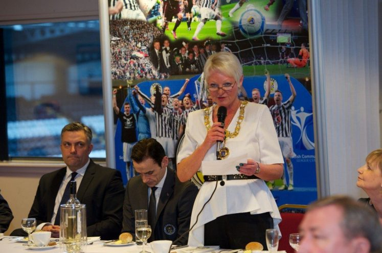 St Mirren civic reception top table Anne Hall speaks