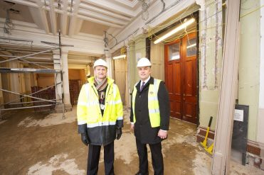 Paisley Town Hall Cllr macmillan and Neil Watson, project manager