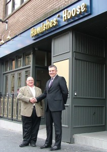 Piero is delighted to show council leader Mark Macmillan the new-look frontage which came about with the help of a property improvement  grant from Renfrewshire Council. Piero is urging other town centre businesses to get in on the act