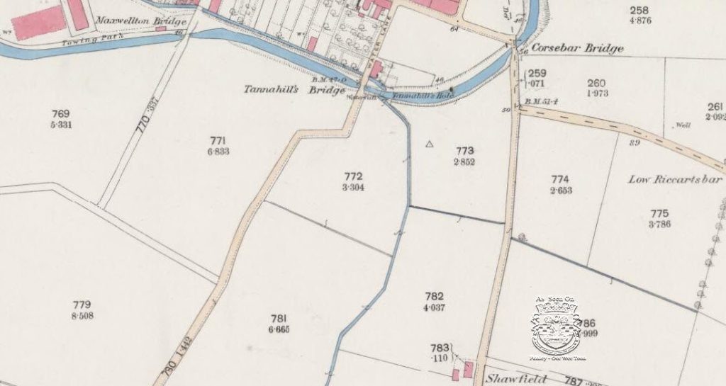 Tannahills Bridge old map of 1858