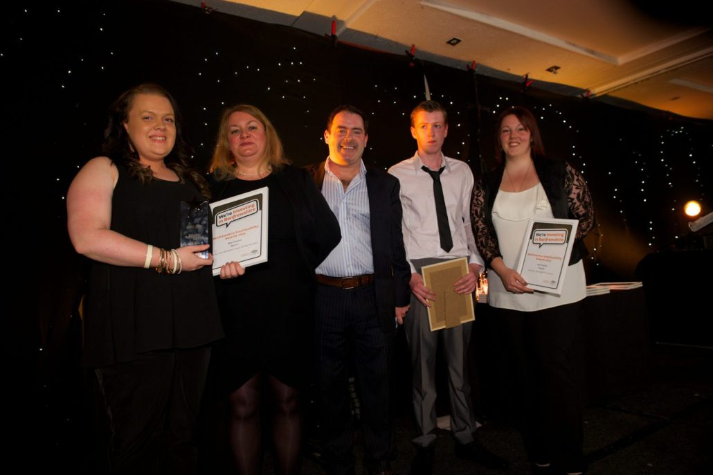 Best Trainee Lesley Ann McKellar with Shona Mitchell of Skills Development Scotland, Des McLean, Sean Folger, Special Achievemet Award Winner, & Best Trai