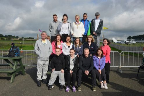 Renfrewshire provost anne hall on her tandem parachute jump with St Andrews Skydive See copy Jennifer Connolly..28 Aug 15 Group Pic