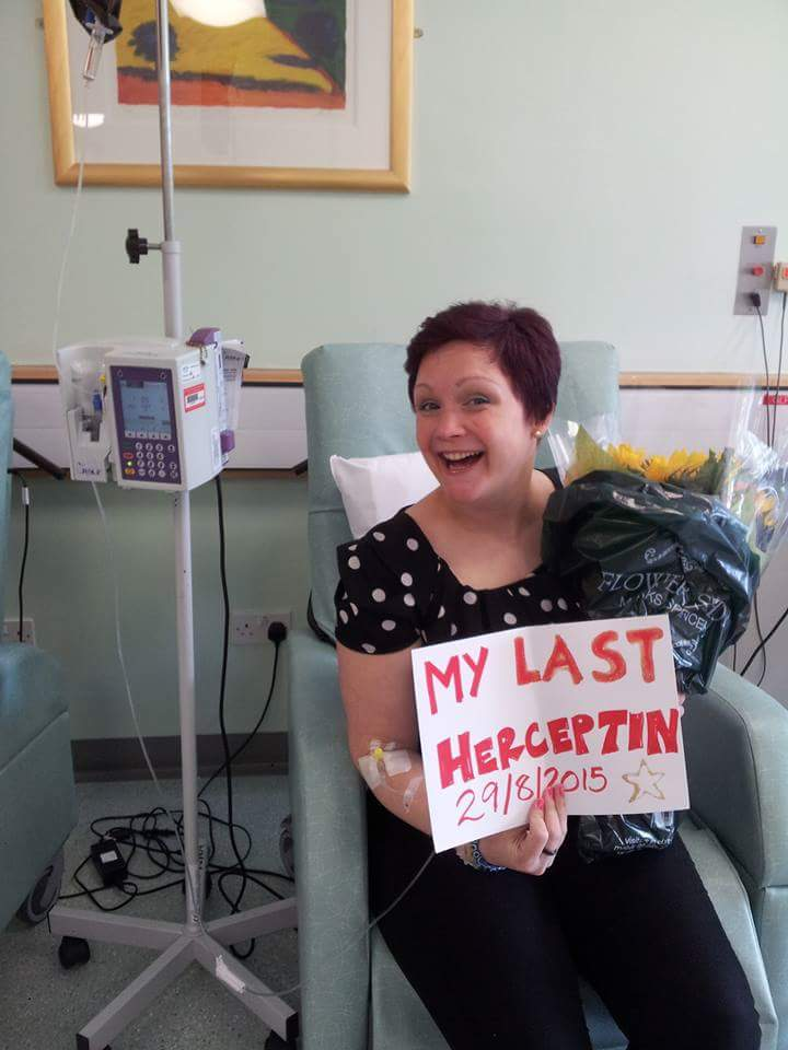 Claire Ann McCallum on last day of cancer treatment