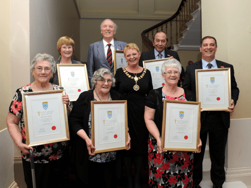 1-Distinction Certificate recipients with Renfrewshire Provost Anne Hall