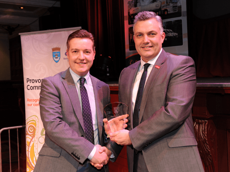 1-Employer of Year winner Martyn Cosh and Sponsor Renfrewshire Council Leader Mark Macmillan