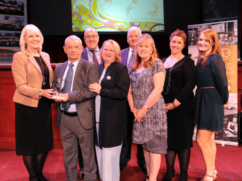 1-Sponsor Maureen Hill, Piazza Centre, with Community Group winners Renfrew Care Home