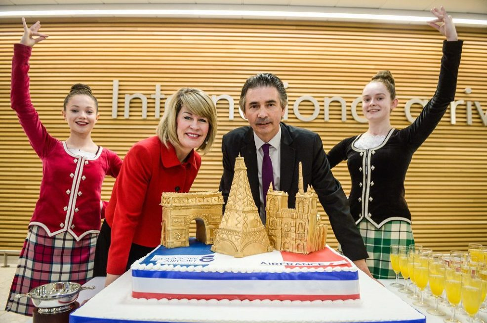 Pictures Nick Ponty.. Credit: Glasgow Airport's managing director Amanda McMillan and Henri de Peyrelongue, Senior Vice President Europe Air France celebrate the launch of the new route with highland dancers at Glasgow Airport.