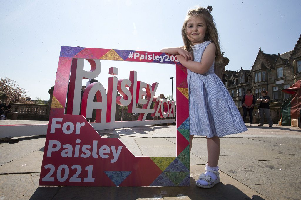 12/05/16.... PAISLEY TOWN CENTRE....... public launch of the For Paisley 2021 campaign Ð a major drive to get local residents and businesses to show their support for the townÕs UK City of Culture 2021. Councillor Mark Macmillan, chair of the Paisley 2021 partnership board;  - Jean Cameron, Paisley 2021 Bid Director Lily Jane