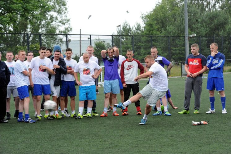 Action shot of the penalty shootout in the final