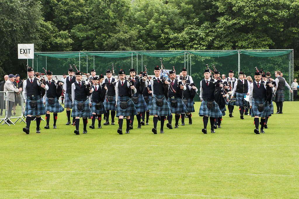 Grade 4 band marching to the line in Belfast