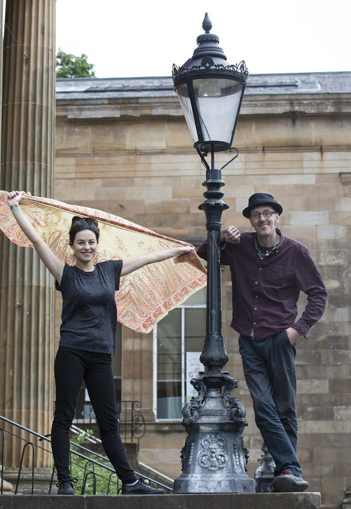 Paisley Museums Silver Threads captures the essence of the Paisley weaver's story . Pictured Clare Gray, actress with  Bruce Morton, Comedian ,writer and actor and  The brand new comedy on Paisley's radical past and the Sma' Shot story. It's part of the Sma' Shot celebration that marks the Paisley weavers' victory following a lengthy pay dispute with the manufacturers to be paid for a hidden piece of cotton thread - known as the Sma' Shot - that held the Paisley Pattern shawls together. Pictured with Loom  Council Leader Mark Macmillan  Clare Gray, actor  Bruce Morton, Writer Comedian and actor  Mark F Gibson / Gibson Digital  infogibsondigital@gmail.co.uk www.gibsondigital.co.uk All images © Gibson Digital 2016. Free first use only for editorial in connection with the commissioning client's  press-released story. All other rights are reserved. Use in any other context is expressly prohibited without prior permission.
