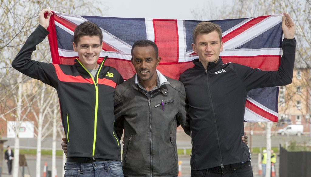 From left, Callum Hawkins, Tsegai Tewelde and Derek Hawkins