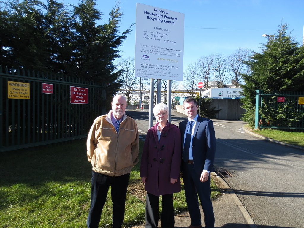 Derek Mackay MSP, Cllr Cathy McEwan, Cllr Bill Perrie at the Renfrew amenity site