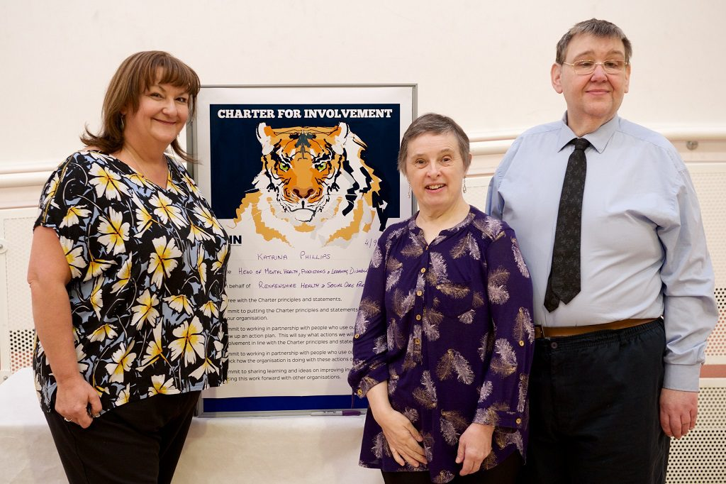 Katrina Philips, Renfrewshire Health & Social Care Partnership's Head of Mental Health, Addictions & Learning Disability Services (centre) with National Involvement Network (NIN) Vice Chairperson Brian Robertson, from Paisley and NIN member Anne McCready, from Renfrew