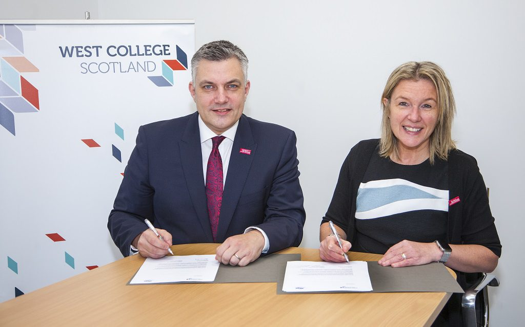College Principal and Chief Executive Audrey Cumberford and Renfrewshire Council Leader Mark Macmillan.
