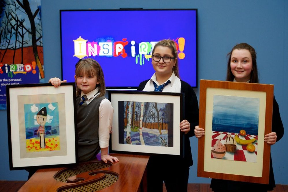 From left, artistic pupils Ola Muir, Sophie Thompson and Beth Daly.