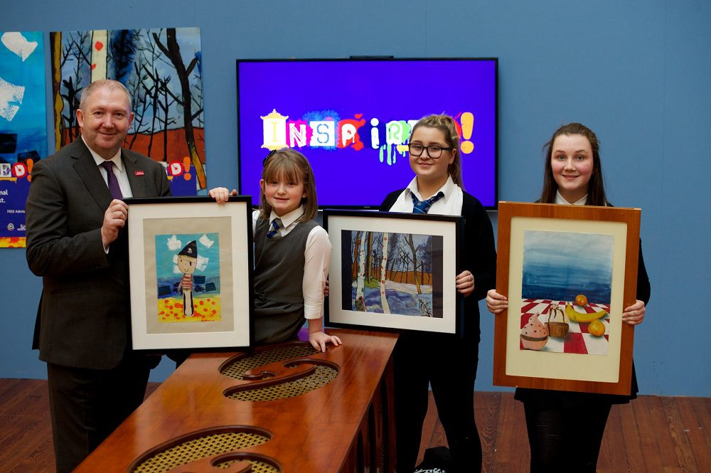 From left, Renfrewshire Leisure Trust chairman Councillor Jim Harte with pupils, Ola Muir, Sophie Thompson and Beth Daly
