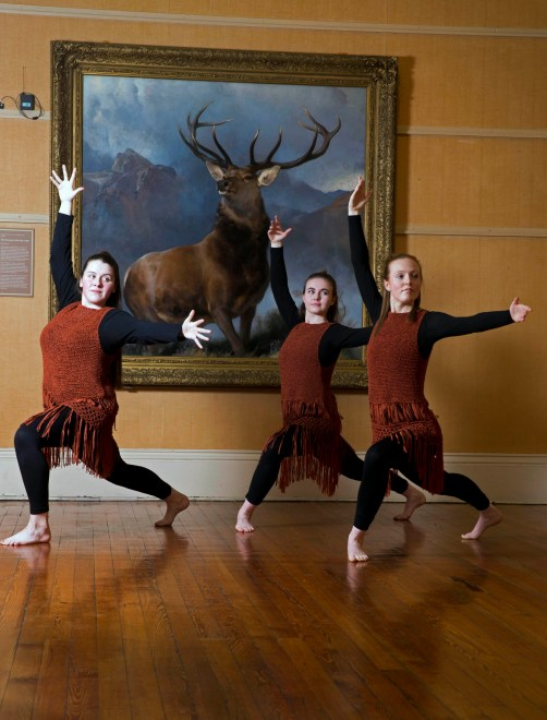 18/01/18... PAISLEY MUSEUM.. Launch of Monarch of the Glen painting exhibition at paisley museum… local dancers from Right2Dance group left to right Beth Gildea, Andi Brogan and Joanne McKissack perform at launch of exhibition