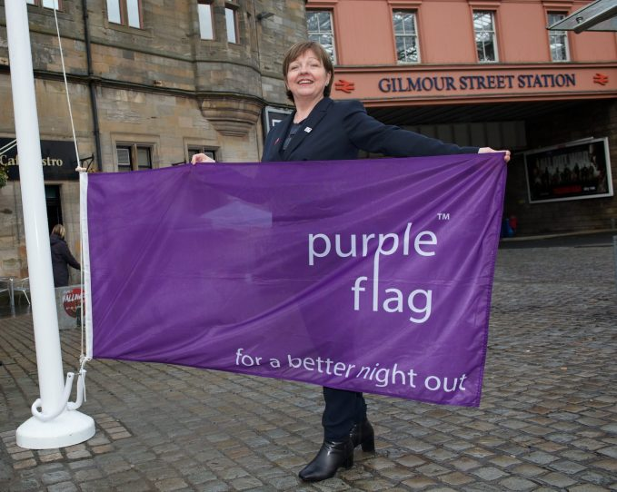 Purple Flag raised at Paisley Town Centre by Cllr McGurk 18.10.17
