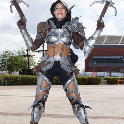 """FREE FIRST USE Pictures Pictured Iris Santos age 28 from Aberdeen as Demon Hunter from the Diablo 3 Game From Macdonald Media on behalf of intu Braehead Shopping Centre To: Press release and free to use photographs for immediate use. Further info from Norman Macdonald on 07958 648814 Thousands turn out for Film and Comic Con event at intu Braehead SHOPPERS must have thought they had walked through the doors of the intu Braehead mall yesterday (Saturday) and landed in a galaxy far, far away. They were met with the sight of characters from all kinds of films, TV shows and comics having a look round the shops. Thousands of sci-fi fans turned out for the Film and Comic Con Glasgow event being held in The Arena at intu Braehead. Many fans were dressed in the costumes of their favourite sci-fi characters and they certainly caught the attention of shoppers in and around the malls. They also flocked to hundreds of stalls set up in The Arena to snap up movie memorabilia and sought-after rare comics. The event continues today (Sunday) when even more fans are expected to come along. Marketing manager for intu Braehead, David Lyon said: """"Where else but intu Braehead would Darth Vader, Stormtroopers, Spiderman and Superman come for a weekend's shopping when they visit planet Earth? """"This Film and Comic Con is one of the most eye-catching events we have at intu Braehead and we look forward to it every year. """"Shoppers just love to see the fans dressed in their amazing costumes and you just never know who you're going to bump into!"""" ends Mark F Gibson / Gibson Digital infogibsondigital@gmail.co.uk www.gibsondigital.co.uk All images © Gibson Digital 2018. Free first use only for editorial in connection with the commissioning client's press-released story. All other rights are reserved. Use in any other context is expressly prohibited without prior permission."""