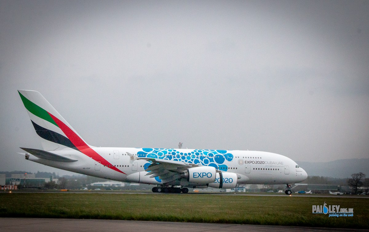 Glasgow Airport and Emirates make Scottish Aviation history with first arrival of the iconic A380 aircraft