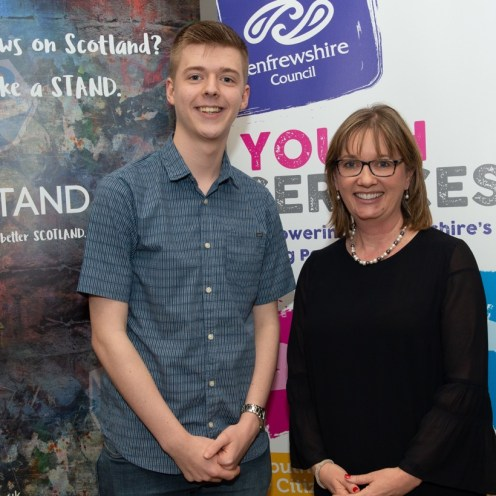 Josh Kennedy - Renfrewshire North and West MSYP with Returning Officer Sandra Black